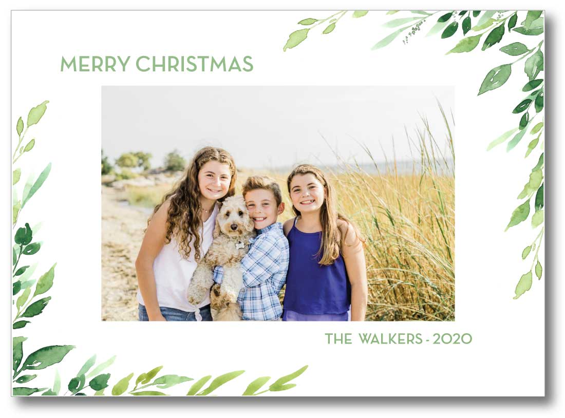 Holiday Photo Card - Watercolor Eucalyptus Frame