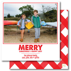 Luxe Holiday Photo Card Gingham Red