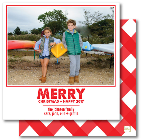 Holiday Photo Card Gingham Red