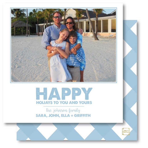 Luxe Holiday Photo Card Gingham Blue