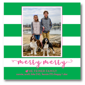 Holiday Square Photo Card Awning Stripe Green