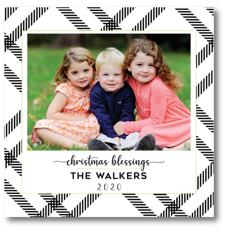 Luxe Holiday Photo Card Modern Black + White Plaid