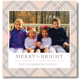 Holiday Photo Card Plaid Blush Tones