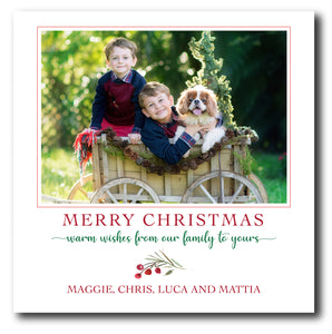 Holiday Square Photo Card Classic Red