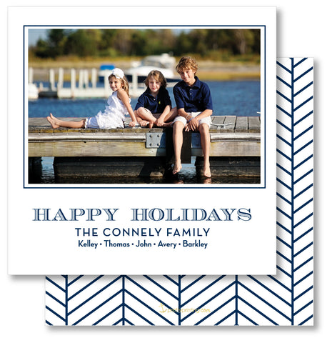 Luxe Holiday Photo Card Herringbone Navy