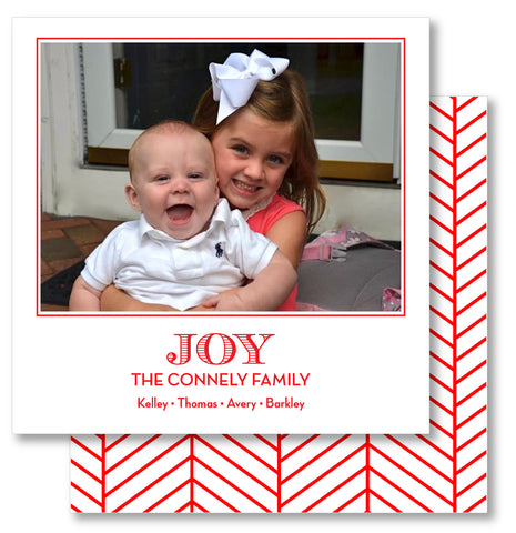 Luxe Holiday Photo Card Herringbone Red