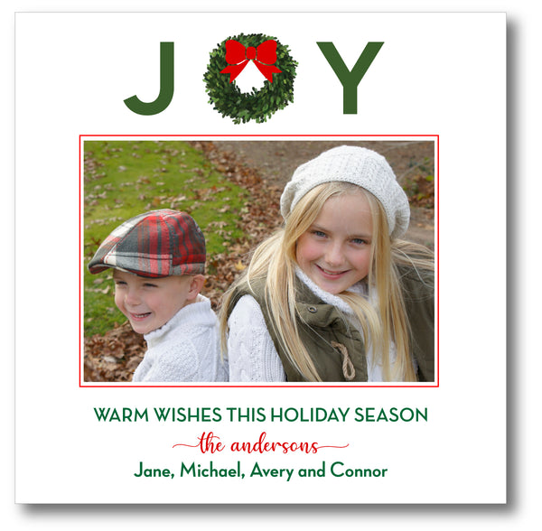 Luxe Holiday Photo Card JOY Wreath Red Bow
