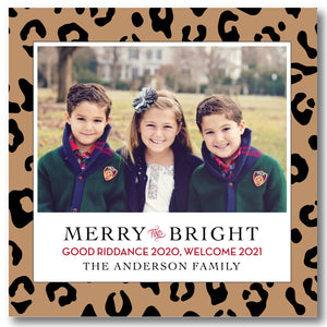 Luxe Holiday Photo Card Leopard Print