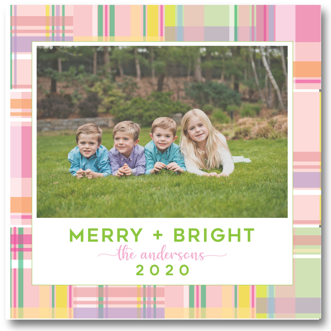 Luxe Holiday Photo Card Madras Pink