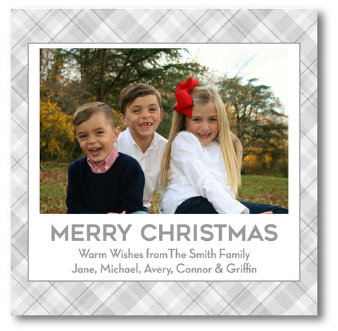Luxe Holiday Photo Card Grey Plaid
