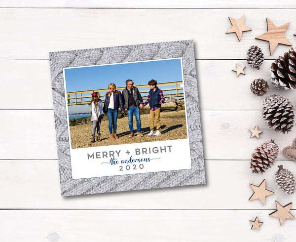 Holiday Photo Card Cable Knit Grey