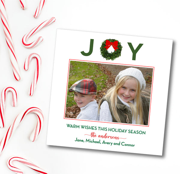 Holiday Square Photo Card JOY Wreath Red Bow