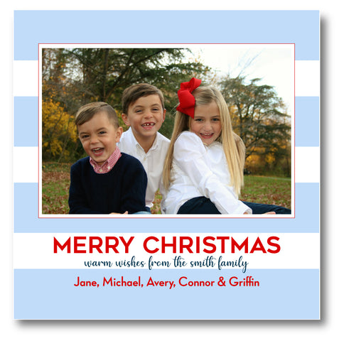 Luxe Holiday Photo Card Awning Stripe Blue