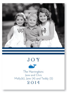 Holiday Photo Card Rugby Stripe Navy