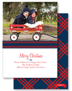 Holiday Photo Card Simple Navy + Red Plaid