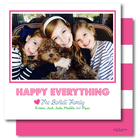 Luxe Holiday Photo Card Awning Stripe Pink