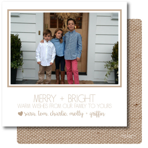 Luxe Holiday Photo Card Burlap Linen Effect