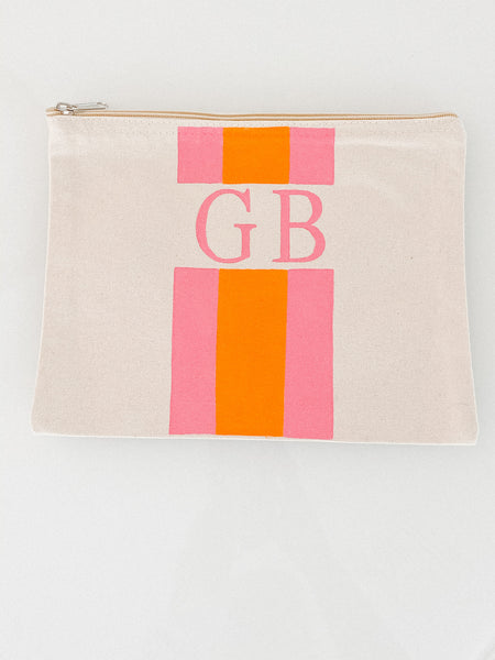 Canvas Zip Top Pouch - Monogram + Stripes (Choose Colors