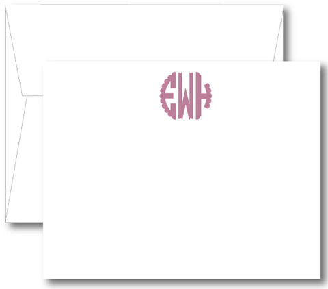 Classic Monogram Notecard - Scallop (click for more colors options)