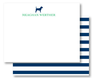 Notecard - Choice of Dog Breed with Navy Stripe (click for more colors options)