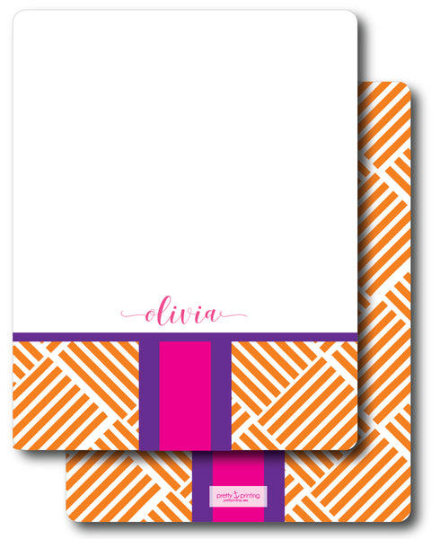Notecard Double Sided - Basketweave Orange