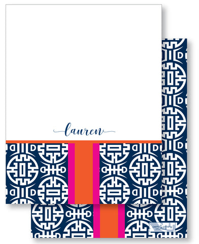 Notecard Double Sided - Chinoiserie Navy