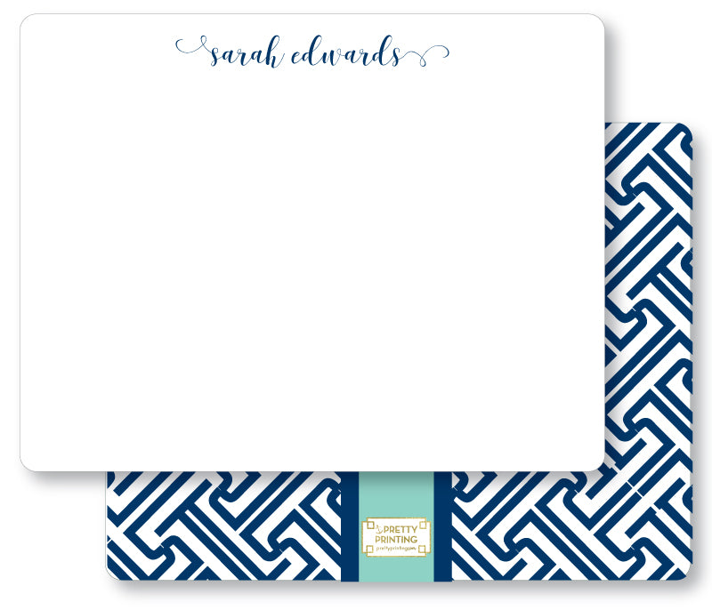 Notecard Double Sided - Fretwork blues