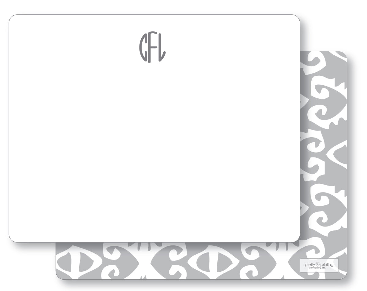 Notecard Double Sided - Ikat Bengal Grey