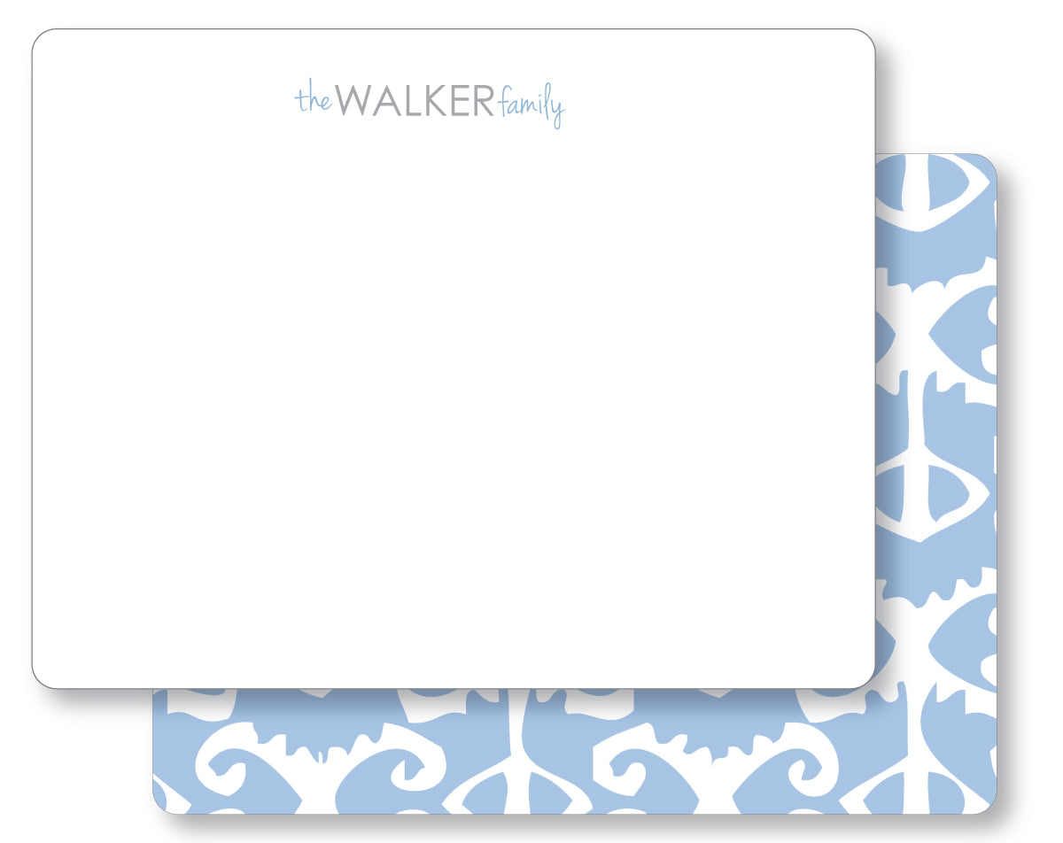 Notecard Double Sided - Ikat Bengal blue