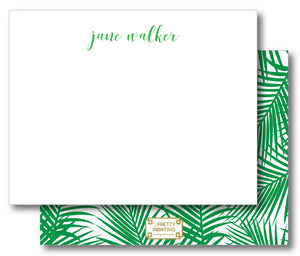 Notecard Double Sided - Palm Print Green