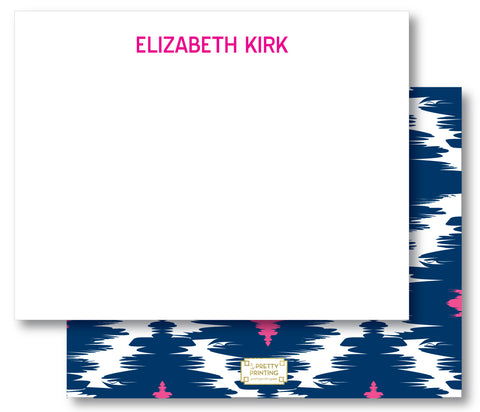 Notecard Double Sided - Preppy Ikat Navy Pink
