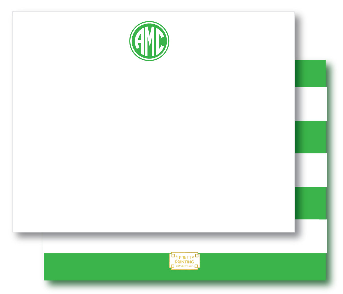 Notecard Double Sided - Awning Stripes Green