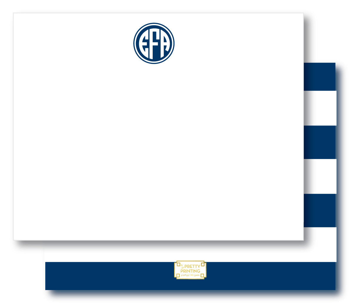 Notecard Double Sided - Awning Stripes Navy
