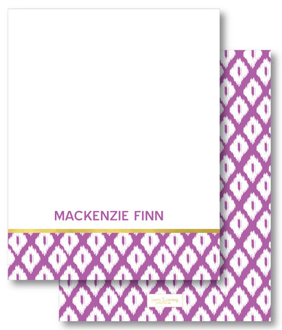 Notecard Double Sided - Simple Ikat Orchid