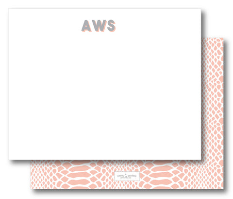 Notecard Double Sided - Snakeskin Blush