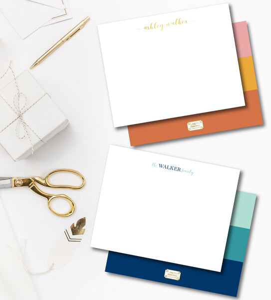 Notecard Double Sided - Color block cool tones