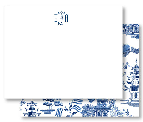 Notecard Double Sided - Chinoiserie Toile