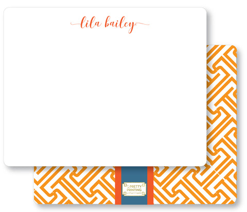 Notecard Double Sided - Fretwork Orange