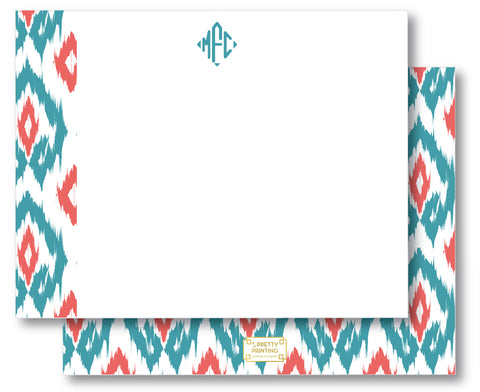 Notecard Double Sided - Island Ikat Aqua + Coral
