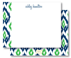 Notecard Double Sided - Island Ikat Navy + Green