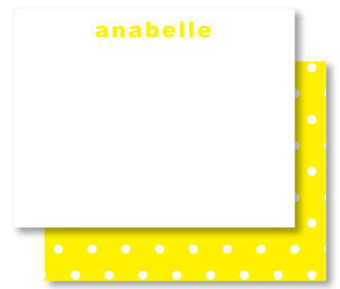 Notecard Double Sided - Polka Dot Yellow