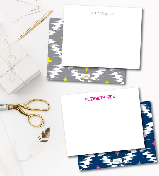 Notecard Double Sided - Preppy Ikat Grey