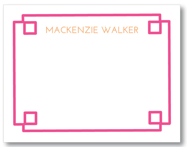 Notecard Fretwork Border Hot Pink (click to preview more color options)