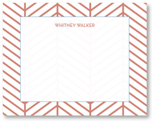 Notecard Herringbone Nantucket Red