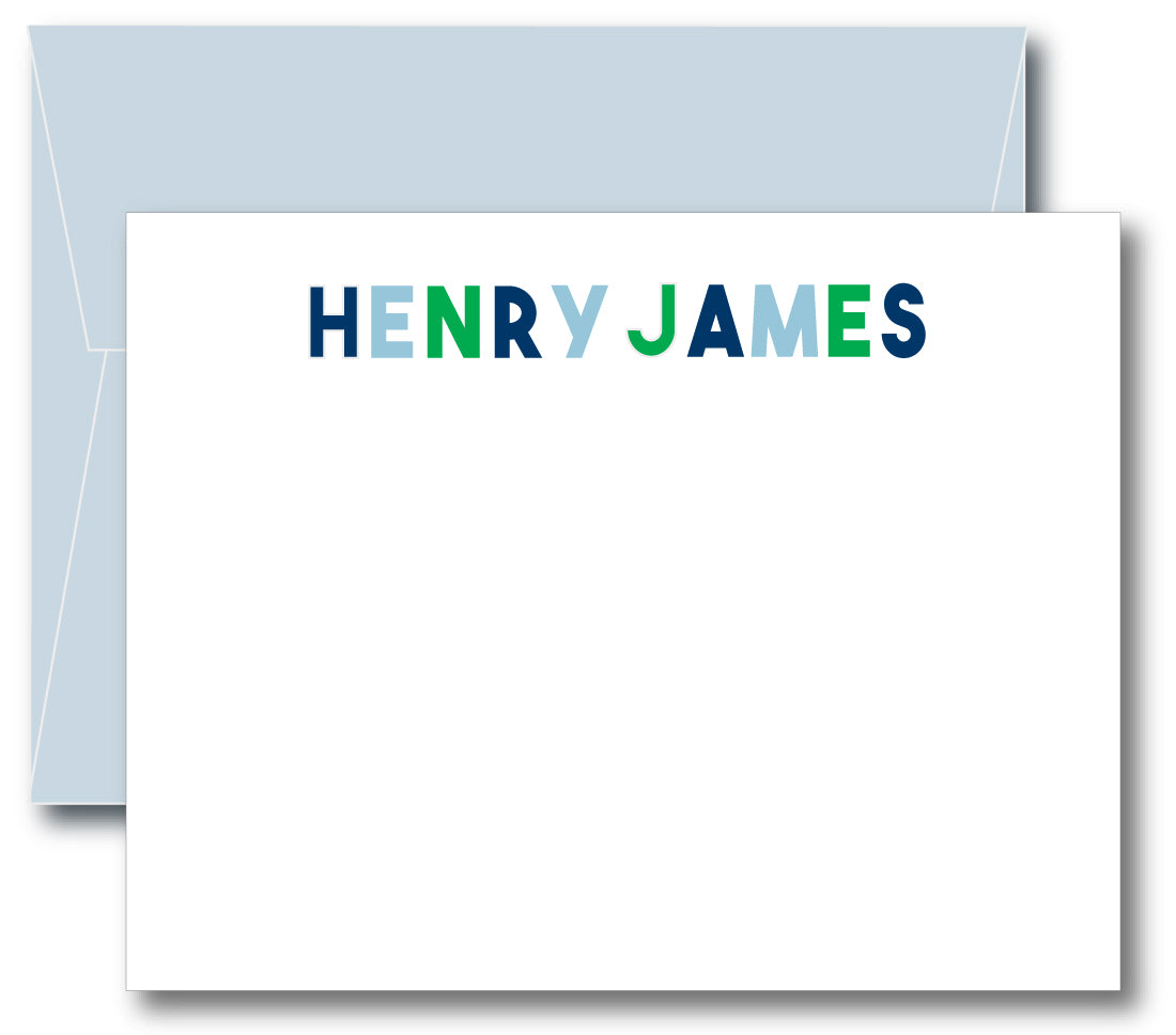 Classic Notecard - Block Letters Name