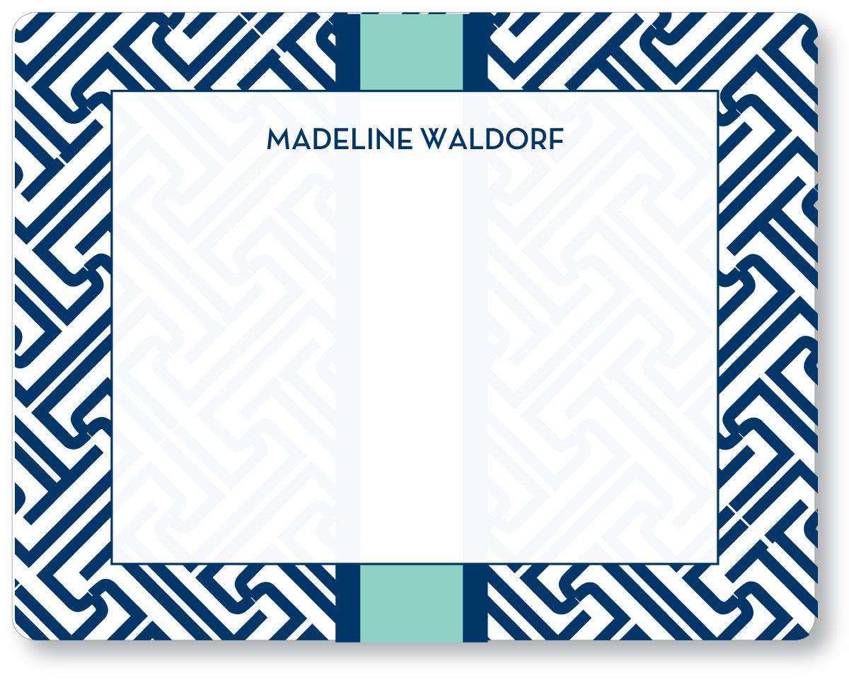 Notecard Fretwork Navy