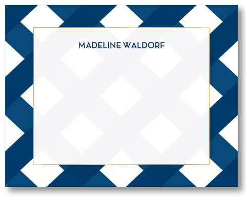 Notecard Gingham Navy