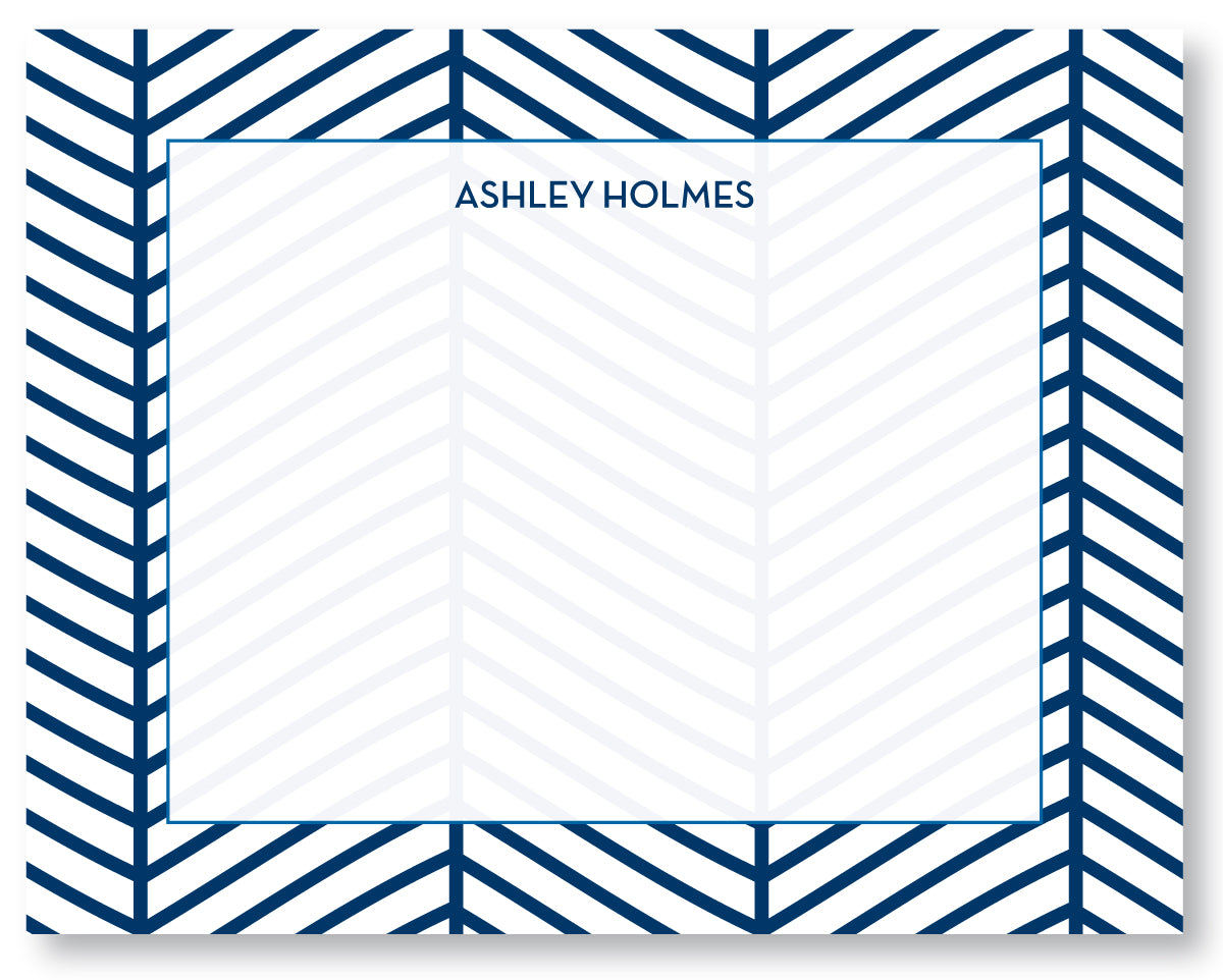 Notecard Herringbone Navy
