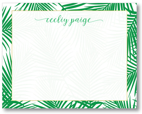Notecard Classic Palm Print Green
