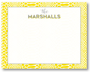 Notecard Snakeskin Yellow